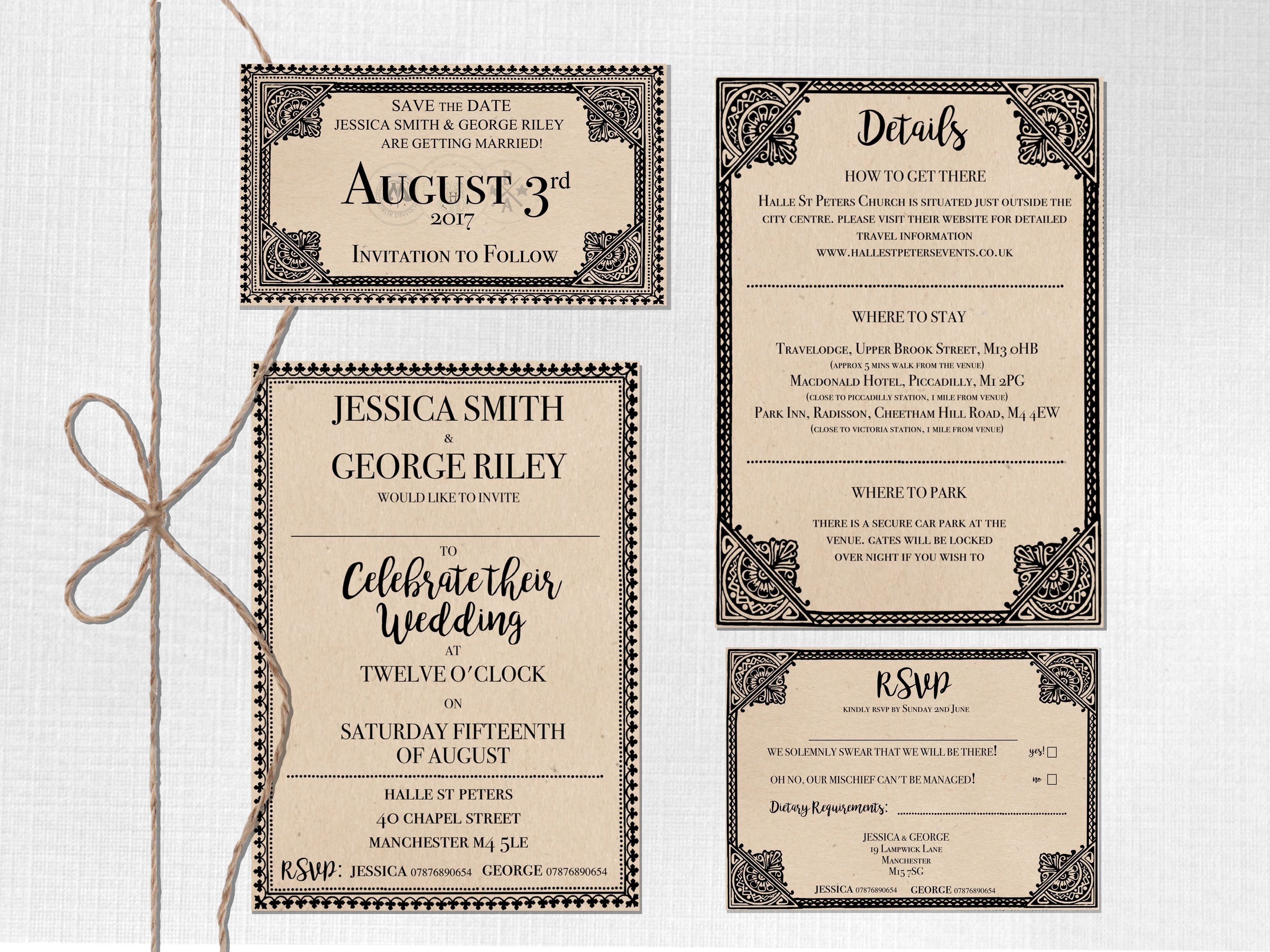 Personalised Subtle Harry Potter Theme Wedding Invite Suite ...