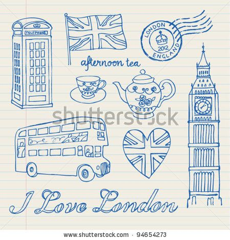 stock vector i love london icons set doodles drawings background