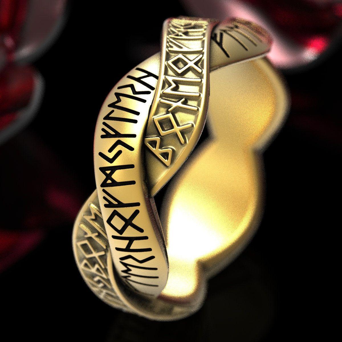 Rune Ring Nordic Band, Viking Rune Wedding Band, Magical