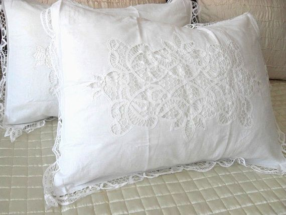 A Pair Of Shabby Chic 100 Cotton Handmade Battenburg Lace