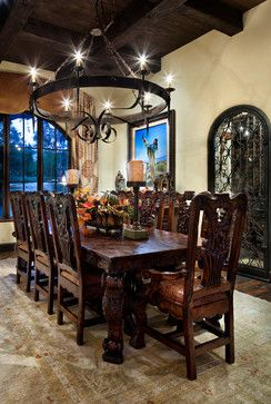 Courtyard Hacienda Mexican Dining Room Rustic Dining Room