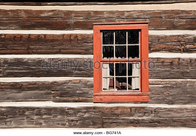 Squared timbers of Strong family first farmhouse in Black Creek Pioneer Village in Toronto Ontario Canada - Stock Image