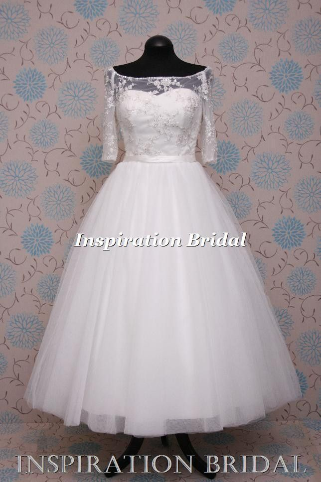 UK dress maker 1589 uk short tea calf length wedding dress vintage ...