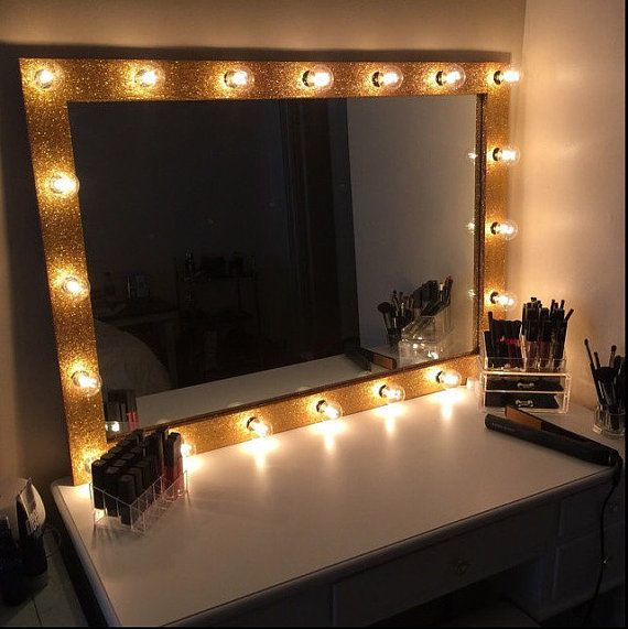 LARGE Lighted Vanity Frame With Glitter!Hollywood Mirror Frame, Lighted  Makeup Mirror Frame,