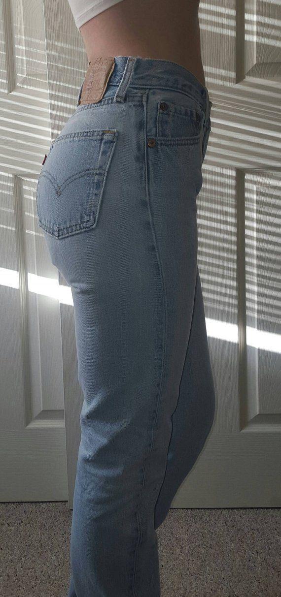 Levis 501 Vintage High Waist Denim Jeans Light Blue Wash Authentic