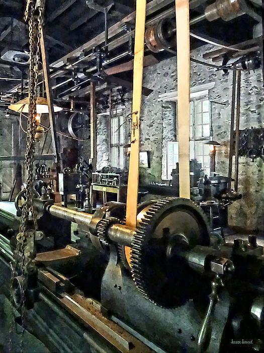 Large Lathe In Machine Shop by Susan Savad Metal working