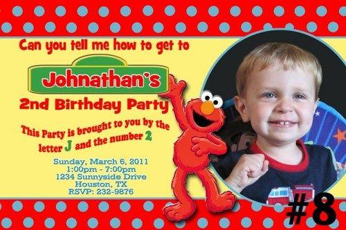 Luau Sesame Street Elmo Photo Birthday Invitation Digital File – Sesame Street Party Invitations Personalized