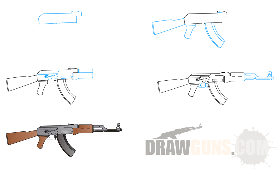 ak 47 coloring pages - how to draw ak 47 machinegun edrk12 free coloring