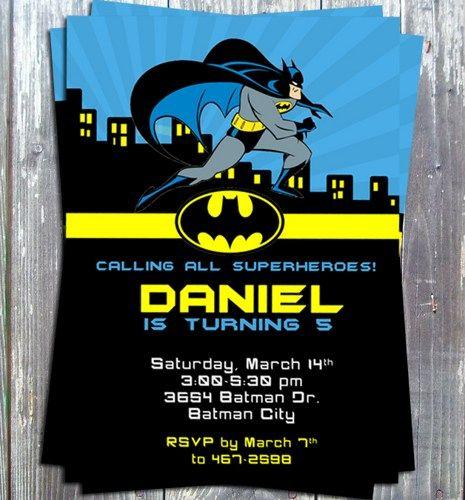 Superhero Batman Birthday Theme Party Invitation Card Printable Diy Batman Birthday Batman Invitations Batman Party