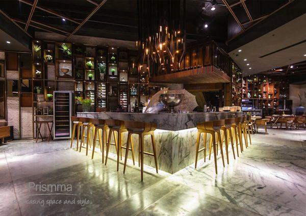 Bar Design. Marble Counter. Bar Stools. Lighting