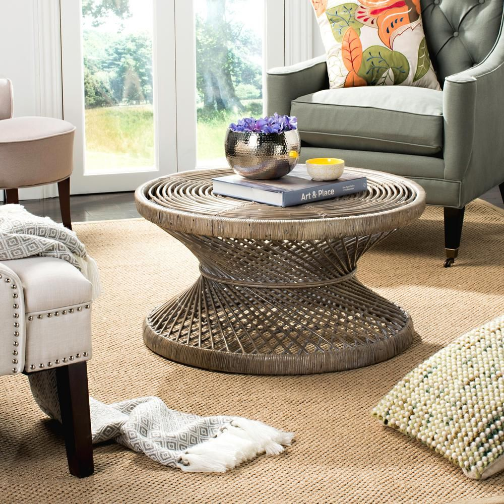 Safavieh Grimson 32 In Black Medium Round Wicker Coffee Table Wik6507a The Home Depot Coffee Table Wicker Coffee Table Coffee Table Grey [ 1000 x 1000 Pixel ]