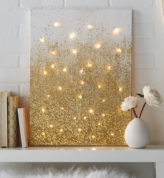 DIY String Light Backlit Canvas Art Ideas Crafts   Light Up Glitter Canvas