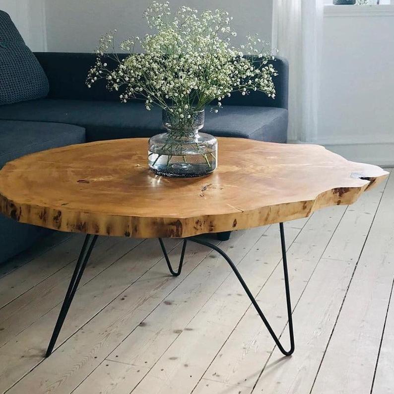 Coffee Table Wood Roundmodern Coffee Table Roundslab Coffee Etsy In 2020 Round Wood Coffee Table Coffee Table Wood Round Coffee Table Modern