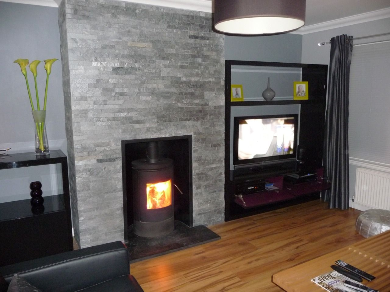 Honed granite hearth wood burner google search house for Tiled chimney breast images