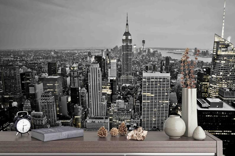 3d New York The Empire State Building Mural Removable Etsy Wall Murals Mural Wallpaper Mural