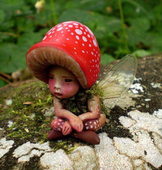 Tiny Woodland Mushroom Fairy by Celia Anne Harris OOAK ...  Tiny Woodland M...