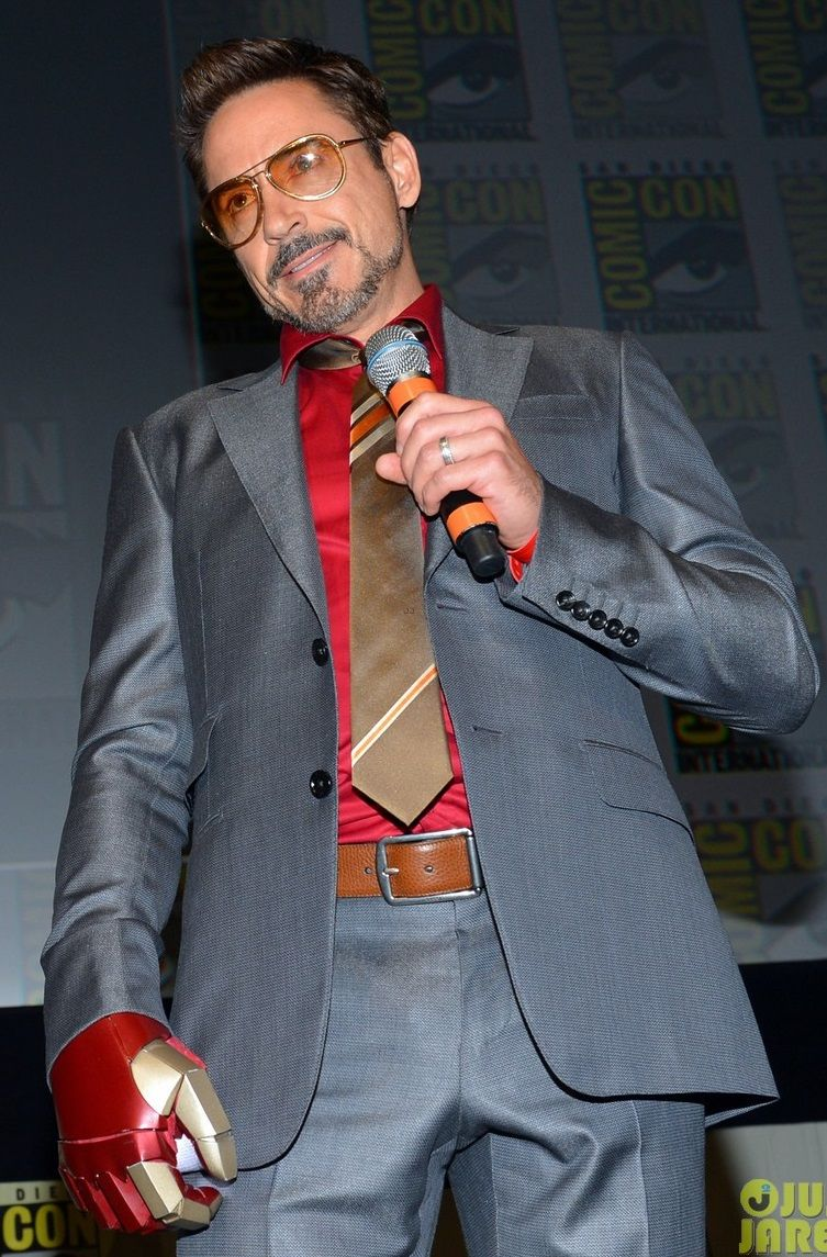 Grey suit with red shirt, bronze/gold tie, and brown leather belt ...
