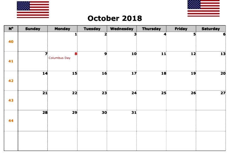 Printable October 2018 Calendar With Holidays October Calendar
