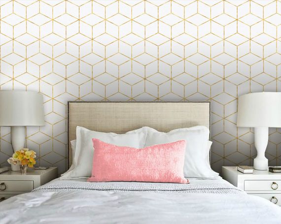 Gold Cube Geometric Removable Peel N Stick Wallpaper