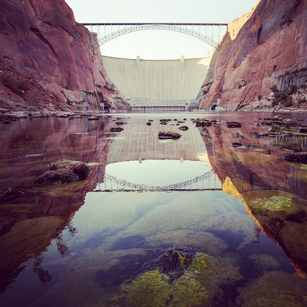 """"""" Glen Canyon Dam, holding back a lake with more shoreline than California. Shot from the Road with #DamNationFilm. Photo by @ben_knight #haydukelives (Taken with Instagram) """""""