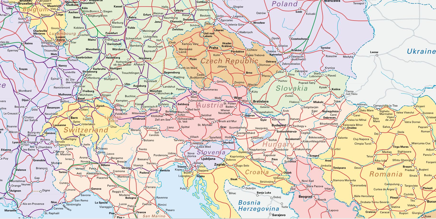 Central Europe Interrail MAPS Pinterest Central europe Graz