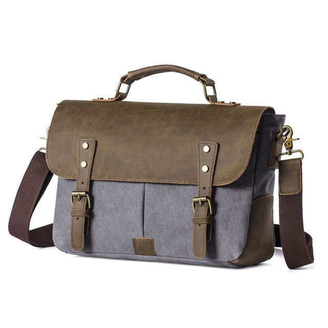 4a61597974b0 Yufang Men Vintage Canvas messenger bag crazy horse leather soft man travel bags  retro school bag hasp military style handbag