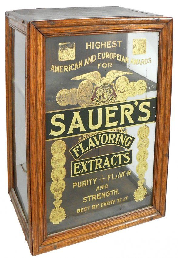 Country store counter display case, Sauer's Flavoring