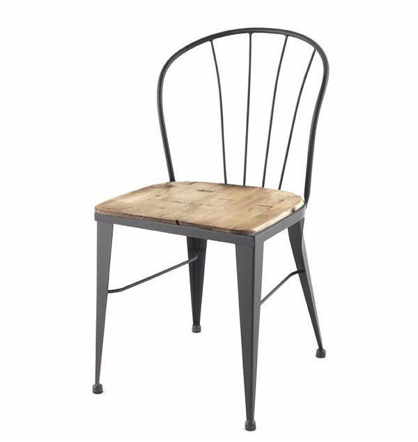 Silla para restaurante tipo industrial elaborada en metal for Sillas tipo bar en madera