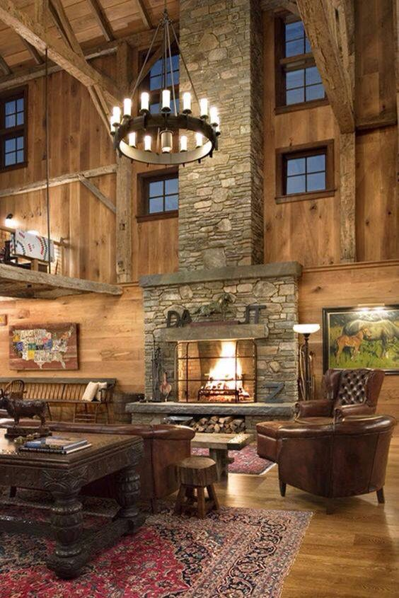 Stacked Stone Fireplace Decor