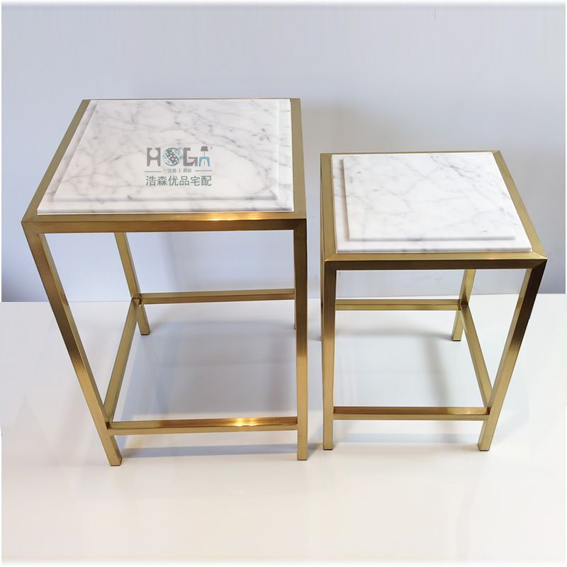 Superbe Stainless Steel Frame Natural Marble Side Table Square Coffee Table  Combination Of New Modern Minimalist Fashion