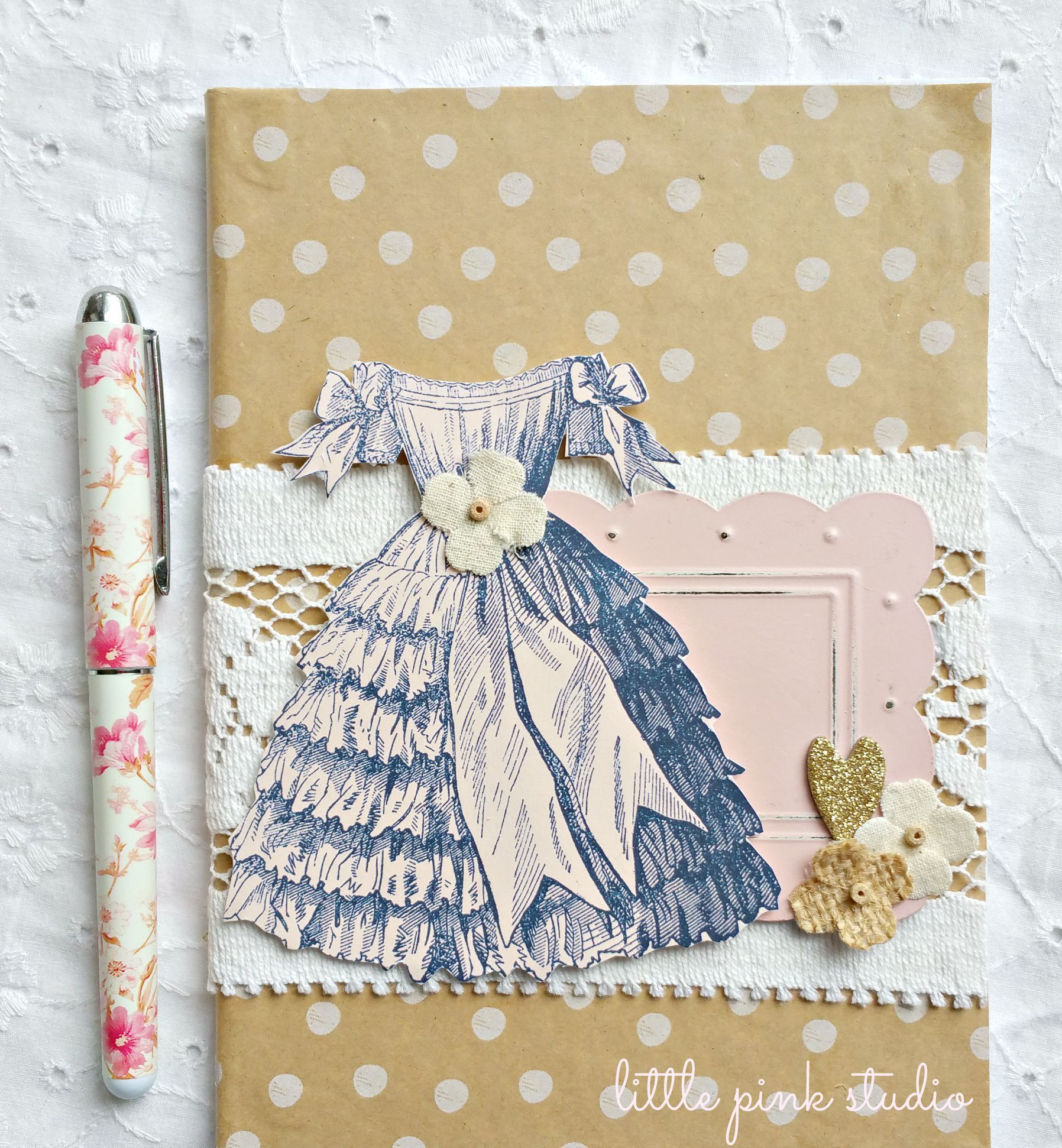 Sweet little journal. One of the creative projects from the August Little Pink Box craft subscription.