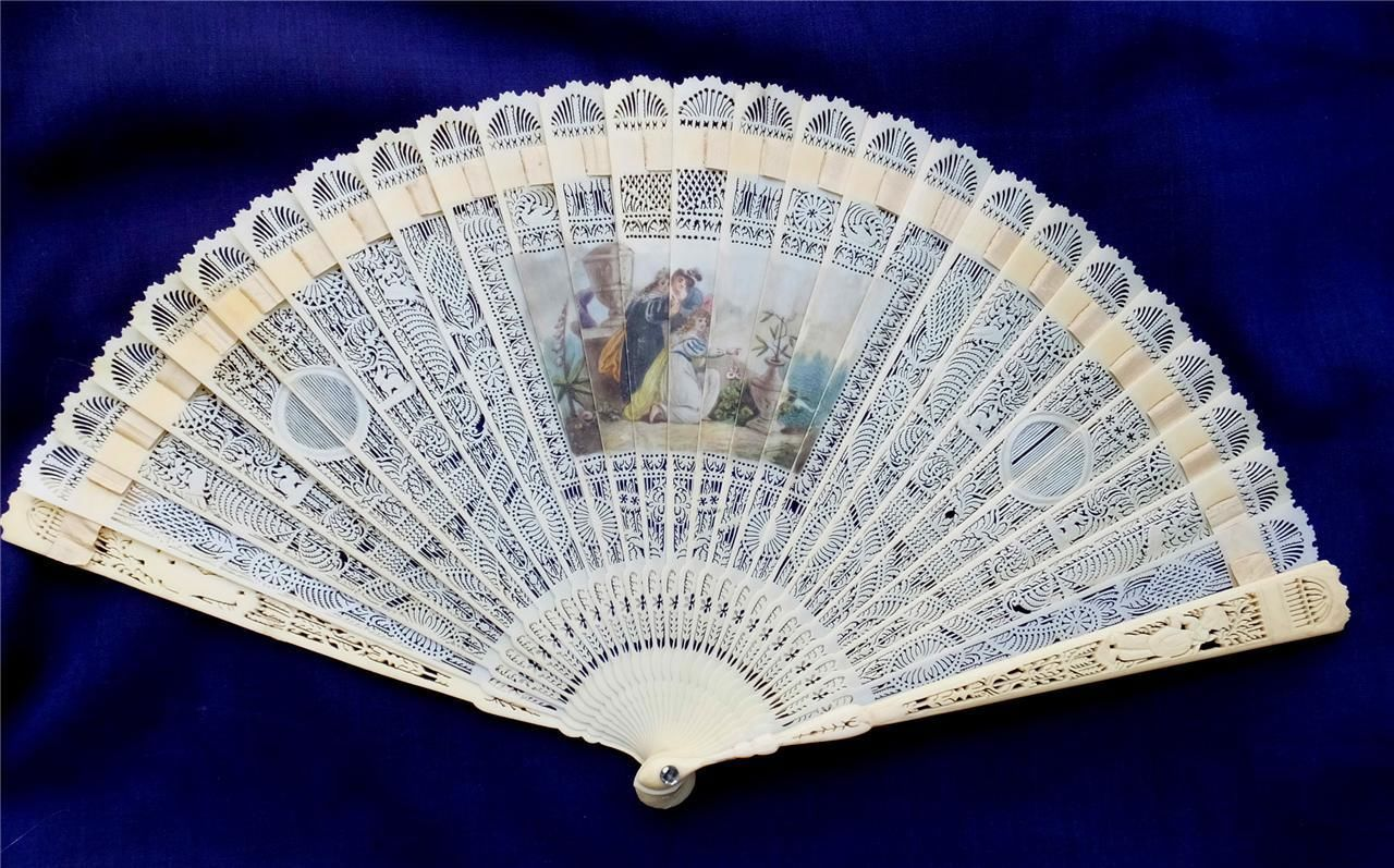 ANTIQUE EVENTAIL BRISE FAN with HAND PAINTED MINIATURE-LATE 18th EARLY 19th CENT | eBay