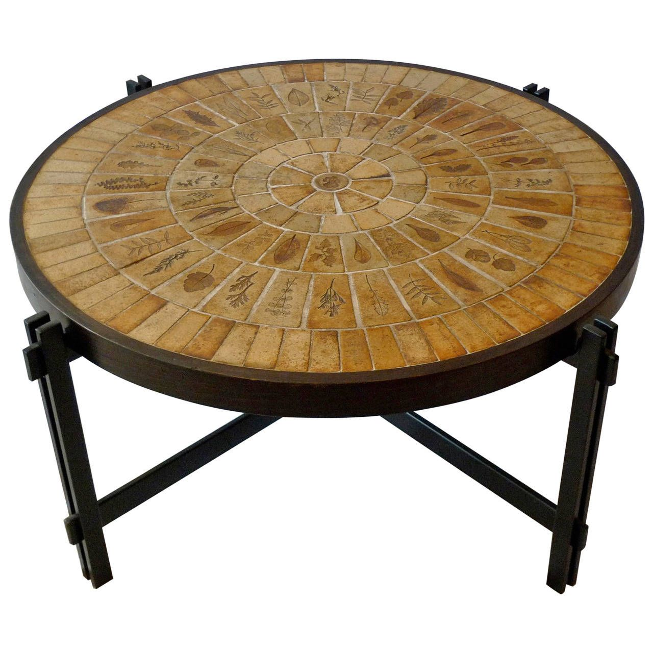 French 1960s Round Coffee Table In Tile And Iron 1stdibs Com Coffee Table Round Coffee Table Table [ 1280 x 1280 Pixel ]