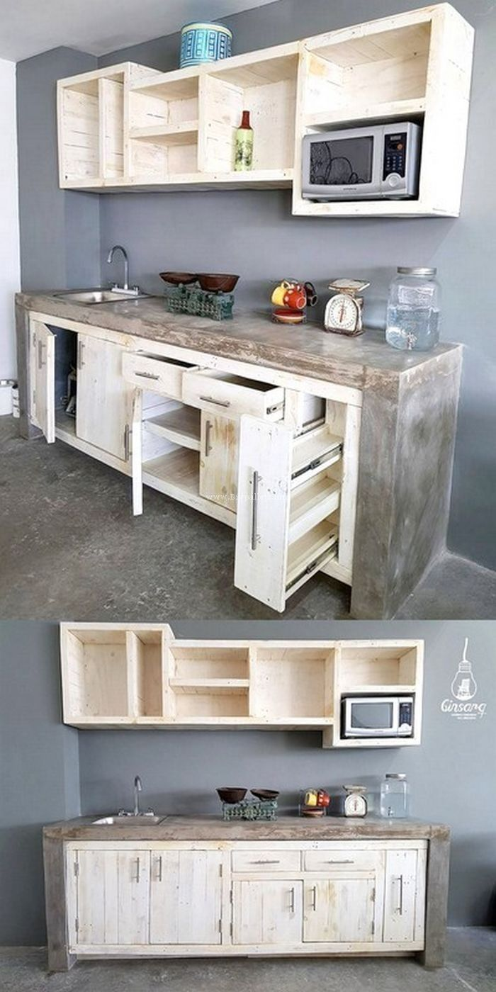 Küche Selber Bauen Rustikal Very Beautiful Wooden Pallet Kitchen Hutch Ranck Project Diy