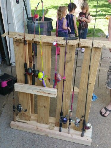 Fishing pole holder pallets diy fishing pinterest for Diy fishing pole rack