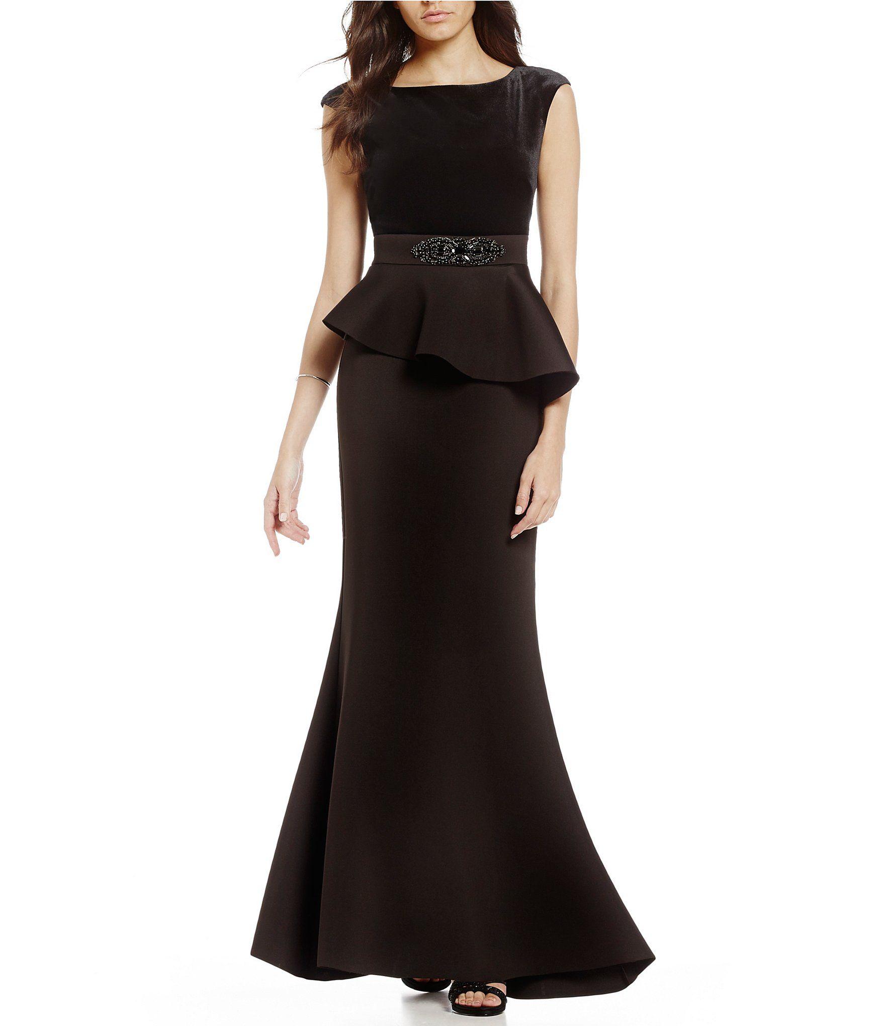 Eliza J Beaded Waist Peplum Gown | Peplum gown, Dillards and Gowns
