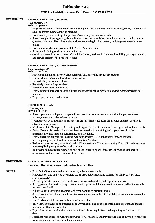 Office assistant Job Description Resume Beautiful 10