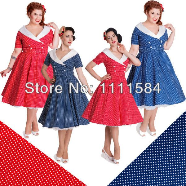 Free Shipping Plus Size Rockabilly Vintage Pinup 1940s Swing Dress
