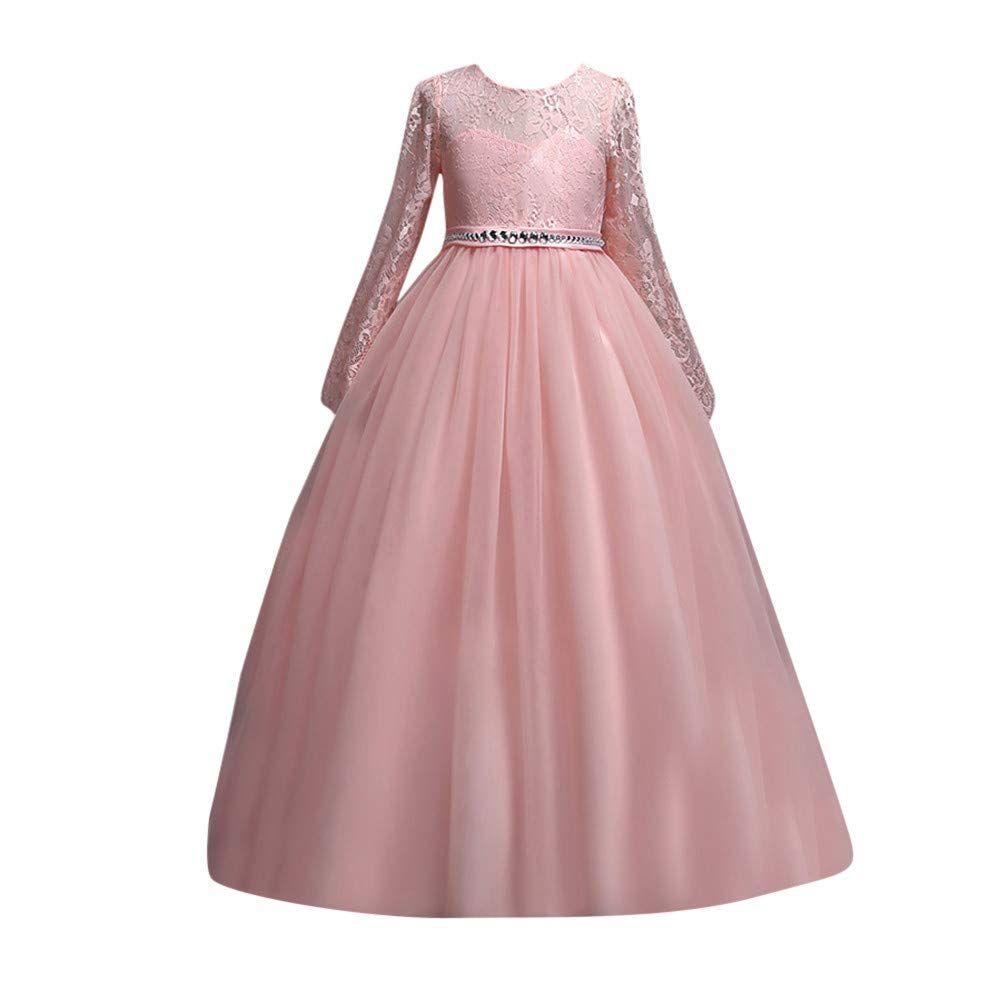 dPois Baby M/ädchen Prinzessin Kleid Taufkleid Festliches Kleid mit Pailletten Schleife Gestickte Besatz Kurze /Ärmel Babybekleidung f/ür Hochzeit Geburtstag Party