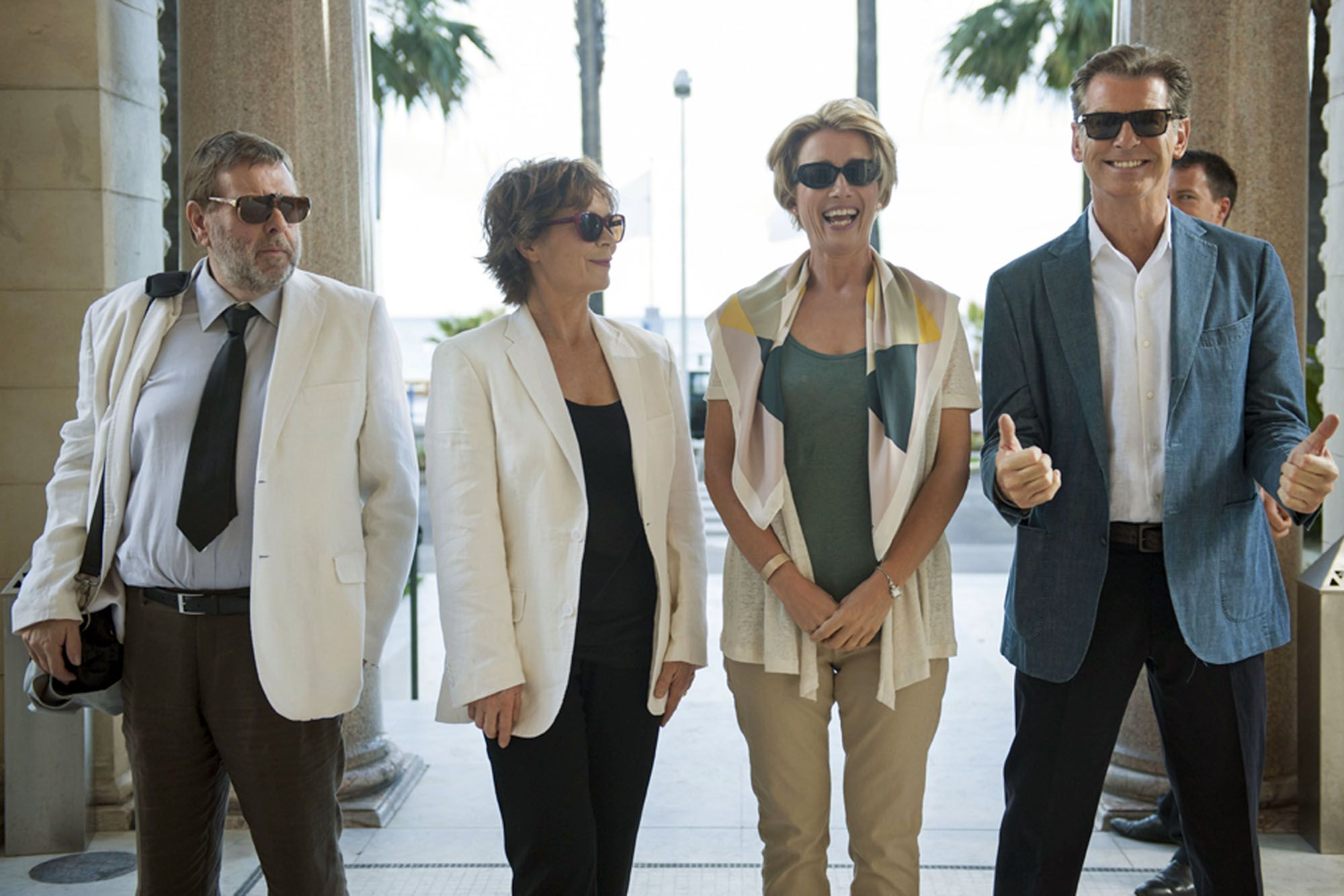 Pierce Brosnan, Emma Thompson, Timothy Spall and Celia Imrie in The Love Punch