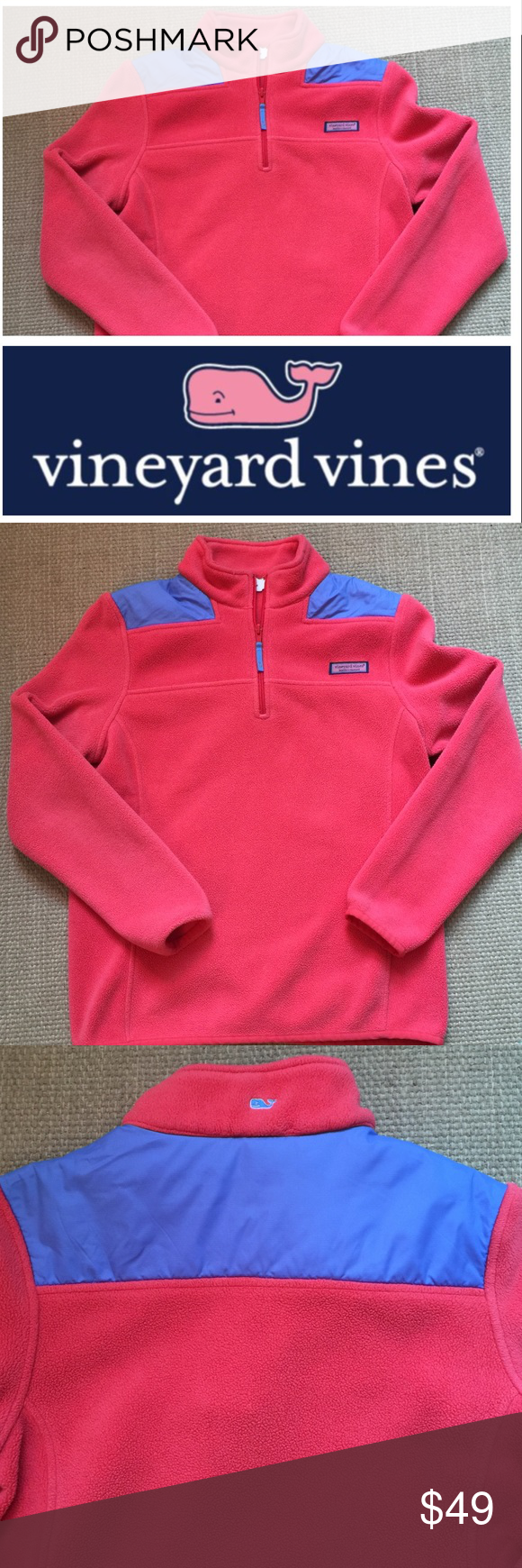 Vineyard Vines Fleece Shep Shirt Fleece Shep Shirt perfect for those chilly beach nights. Prettiest coral pink color and periwinkle blue shoulders. In well loved condition. Slight fabric imperfection on backside shown in 3rd picture. Offers welcome  Vineyard Vines Tops Sweatshirts & Hoodies