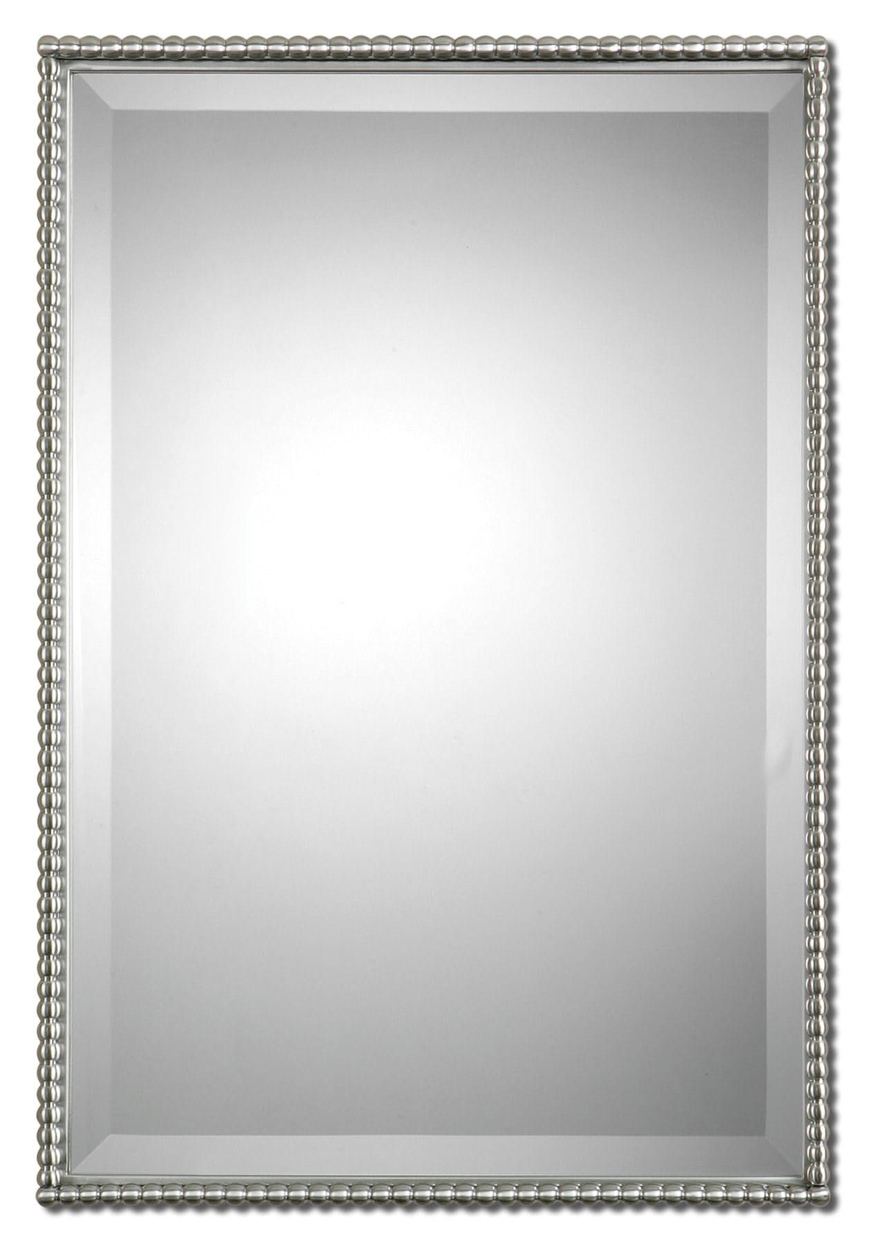 Brushed nickel, metal frame features a decorative beading design ...