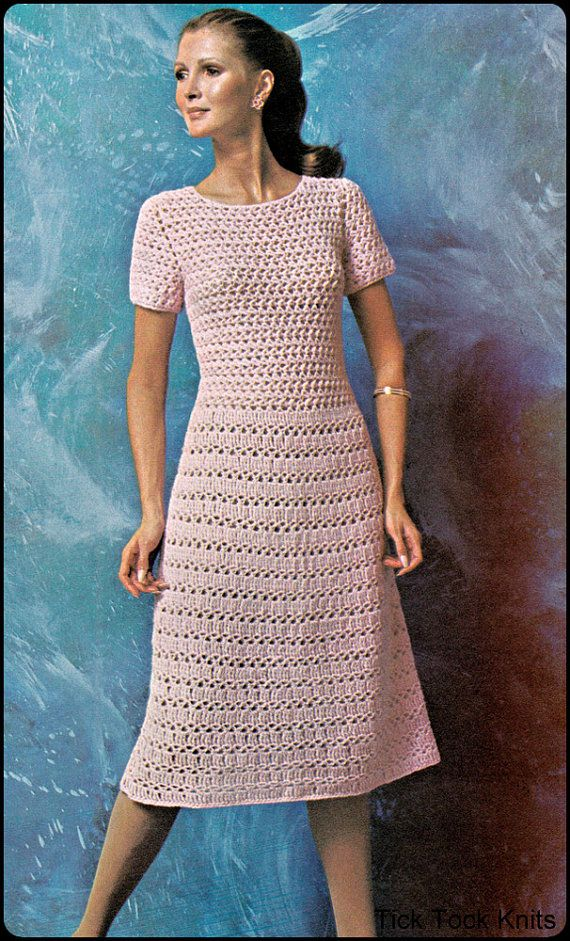 No60 PDF Vintage Crochet Pattern Women's Lacey Tea Dress Instant Inspiration Crochet Clothing Patterns