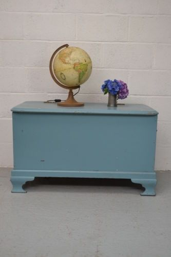 Large Painted Wooden Chest Storage Trunk Coffee Table Toy Box | EBay
