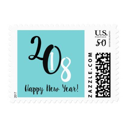 2018 New Year Stamp   holiday card diy personalize design template
