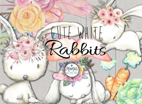 Conejo clipart bunny acuarela bosque animales mano | MAJO ...