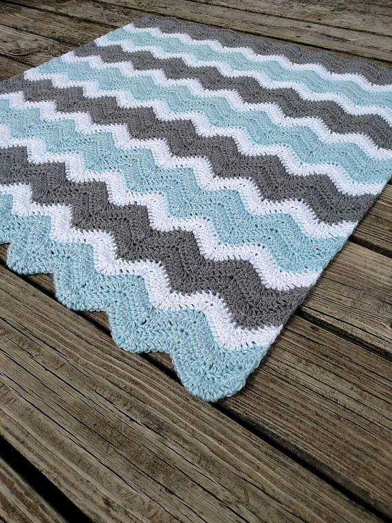 Crochet Baby Blanket for Boy - Chevron Baby Blanket - Hand Made ...