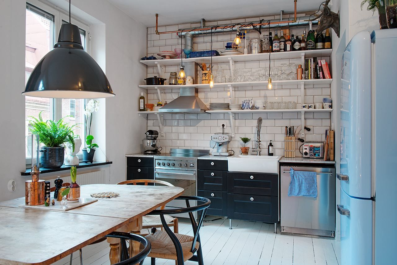 Small Swedish Apartment Kitchen In Scandinavian Style Loft Simple Kitchen Design Kitchen Cabinet Design Tiny Kitchen Design
