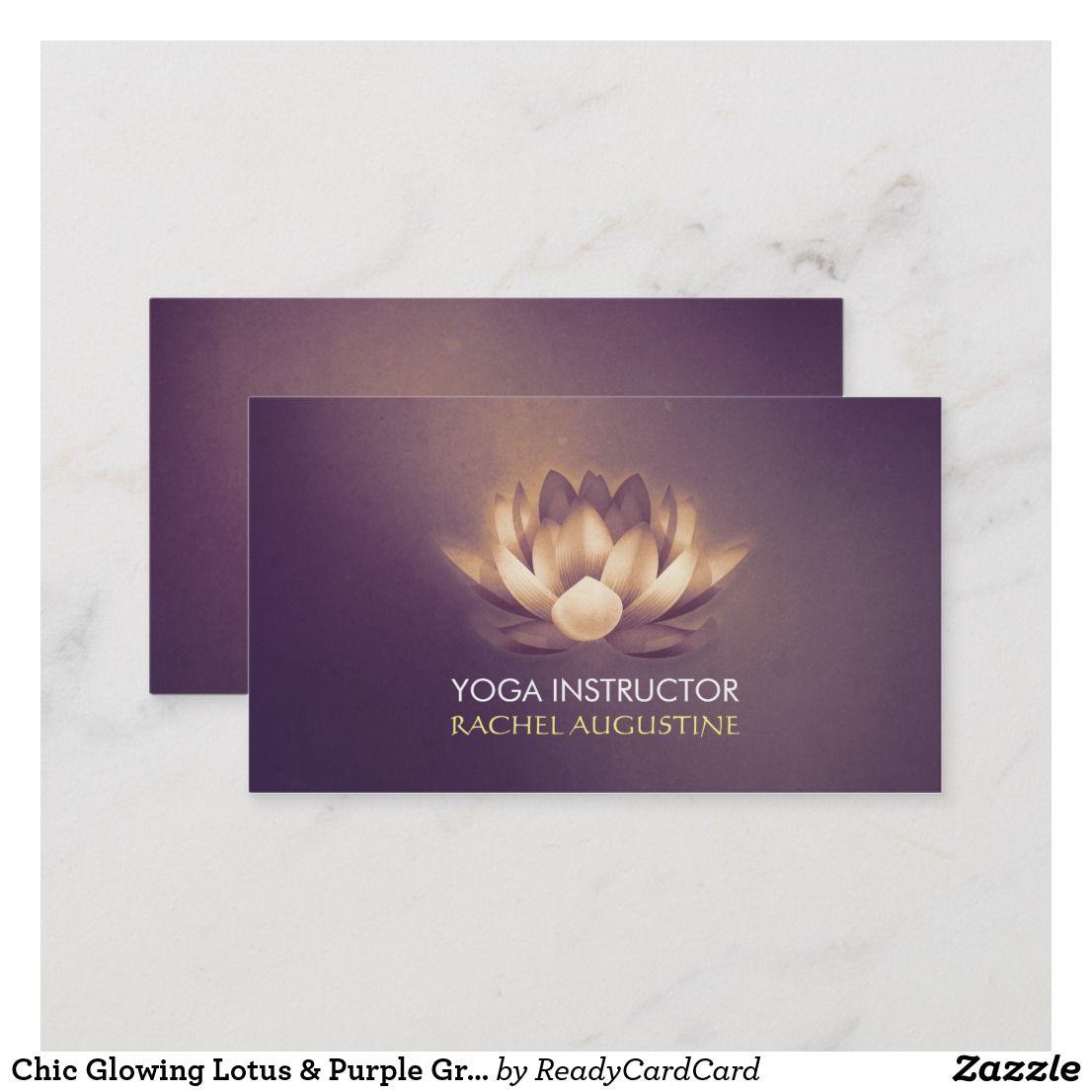 Chic Glowing Lotus Purple Grunge Yoga Instructor Business Card