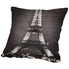 Eiffel Lights B&W Throw Pillow